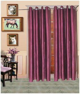 Madhav Product Plain Eyelet Long Door Curtain (Set Of 2)