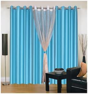 Madhav Product Plain With Tissue Eyelet Long Door Curtain (Set Of 4)