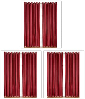 Madhav Product Polyester Maroon Eyelet Door Curtains (7Ft) - Set Of 6