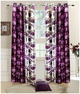 Madhav product double shade eyelet door curtain (set of 6)