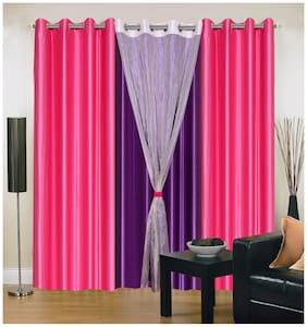 Madhav product solid eyelet door curtain with tissue (set of 4)