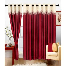 Madhav Products Mehroon U Lace Eyelet Door Curtain