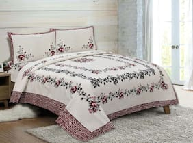 Madhu Homes Cotton Printed King Size Bedsheet 200 TC ( 1 Bedsheet With 2 Pillow Covers , Assorted )