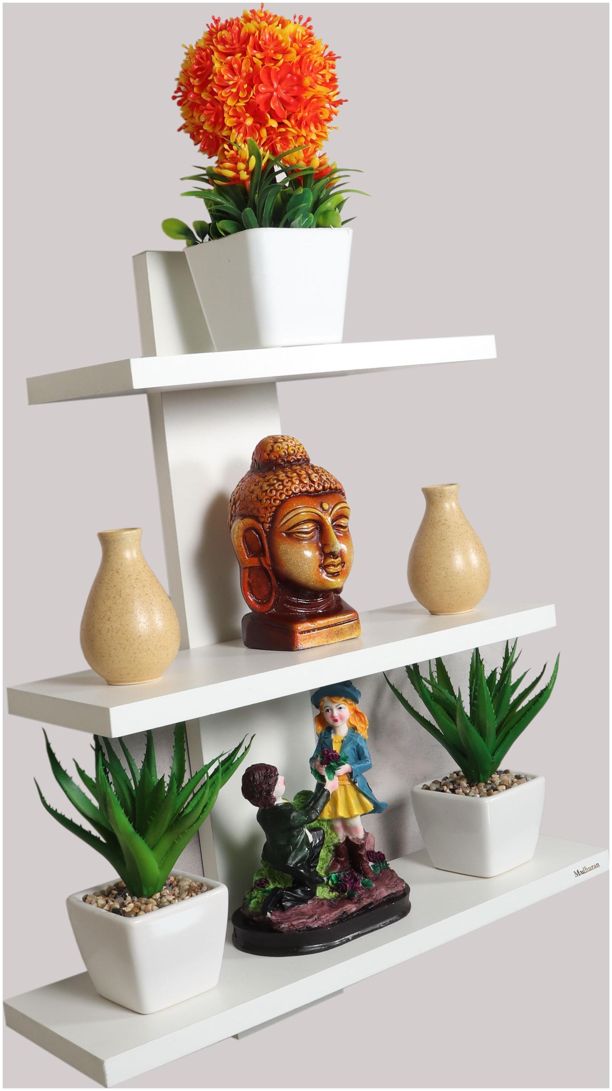 Madhuran  Batten Decorative Wall shelf set of 3 White / Wooden Decorative Decoration Dining Dark Storage Shelves Stand Slabs