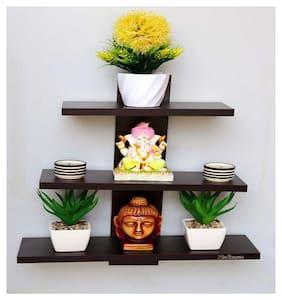 Madhuran Batten Decorative Wall Shelf Set of 3 Wenge/Wooden Shelves Rack Display D cor
