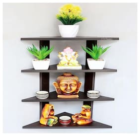 Madhuran Hard Wood Delta Corner Wall Shelf Unit Wenge 29.5 X 29.5 X 68 cm