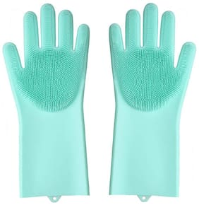 Madsan Silicone Scrubbing Cleaning Gloves with Scrubber for Dishwashing and Pet Grooming;Latex Free (Turquoise Color;1 Pair)