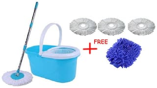 FUN2DEALZ Magic Mop Fully Cleaning Set With Free 3 Head Refill And 1 Glove