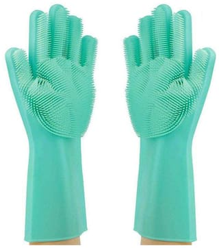 Magic Reusable Silicone Household Gloves with Wash Scrubber, Dish Washing, Microwave Anti-Scald Gloves (Pack of 1)
