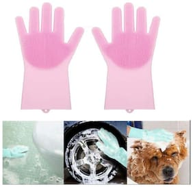Magic Silicone Dish Washing Gloves, Silicon Hand Gloves for Kitchen Dishwashing and Pet Grooming, Great for Washing Dish, Kitchen, Car, Bathroom (1Pair) Assorted Color