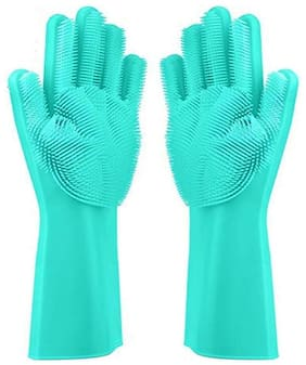 Magic Silicone Gloves with Wash Scrubber, Reusable Brush Heat Resistant Gloves Kitchen Tool for Cleaning, Dish Washing, Washing The Car, Pet Hair Care - 1 Pair (Multicolor)