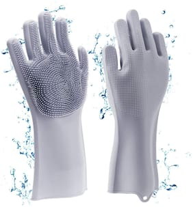 Magic Silicone Gloves with Wash Scrubber, Reusable Brush Heat Resistant Gloves Kitchen Tool for Cleaning, Dish Washing, Washing The Car, Pet Hair Care - 1 Pair (Random Colour)
