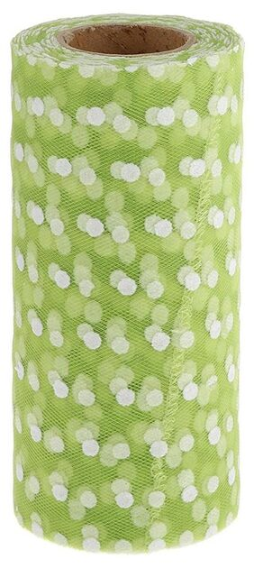 Magideal 25yd Flocking Polka Dot Tulle Roll Spool for Wedding Party DIY Grass Green