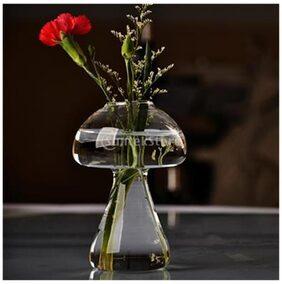 Magideal Clear Glass Vase Bottle for Plant Flower Decorations - Mushroom