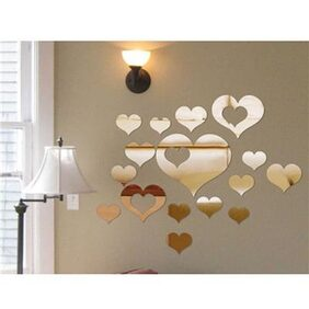 Magideal Mirror Style Decal Art Mural Wall Sticker Home Decor - Hearts
