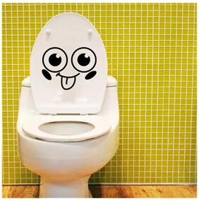Magideal Removable Smile Face Toilet Washroom Letter Decal Wall Sticker DIY PVC Decor