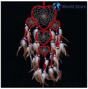 Magideal Romantic Red Heart Shape Feather Dream Catcher Home Wall Hanging Decor