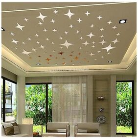 Magideal Stars Pattern Mirror Style Decal Art Mural Wall Sticker Home Decor - Golden