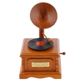 MagiDeal Vintage Wood Gramophone Music Box Melody Box Desk Decoration Spirited Away