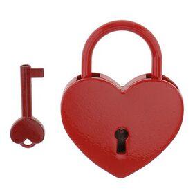 Magideal Vintage Heart Shape Padlock w/ Key Tiny Suitcase Crafts Lock Set - Red L