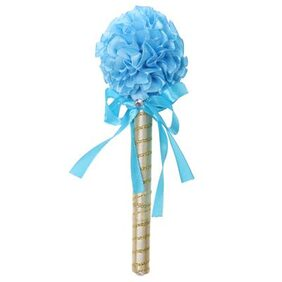 Magideal Wedding Party Sky Blue Flower Wand Guest Book Signing Ball Pen Table Decor
