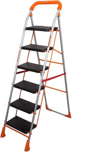 Magna Homewares Stainless steel 6 Steps Ladder ( Orange , Front Step )