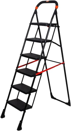 Magna Homewares Pollux Heavy Duty 6 Steps Folding Ladder with Wide Steps
