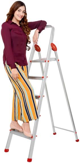 Magna Homewares Aluminium 5 Steps Ladder ( Red , Front Step )