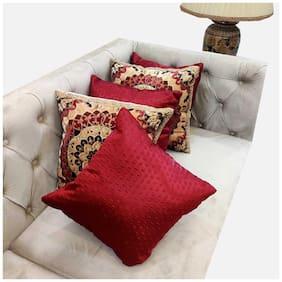 Good Vibes Embroidered Velvet Square Shape Beige Cushion Cover ( Regular , Pack of 5 )