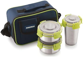 Magnus 3 Containers Stainless steel Lunch Box - Green