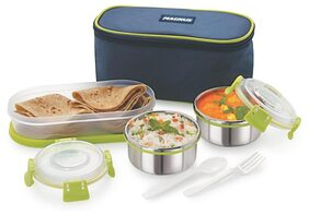 Magnus Lunch Box With Clip Lock & Bag;Stainless Steel;3 Pcs Set