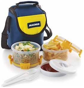 Magnus 2 Containers Plastic Lunch Box - Blue