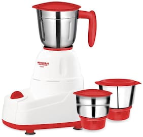 Maharaja Whiteline CREST 500 W Mixer Grinder ( Red & White , 3 Jars )