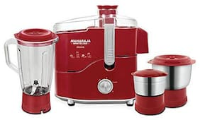 Maharaja Whiteline DESIRE RED TREASURE 550 W Juicer Mixer Grinder ( Red & Silver , 3 Jars )