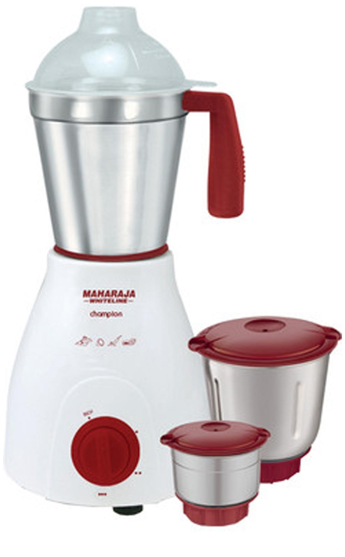 Maharaja Whiteline Champion MX-121 500 W Mixer Grinder (White & Red/3 Jars)