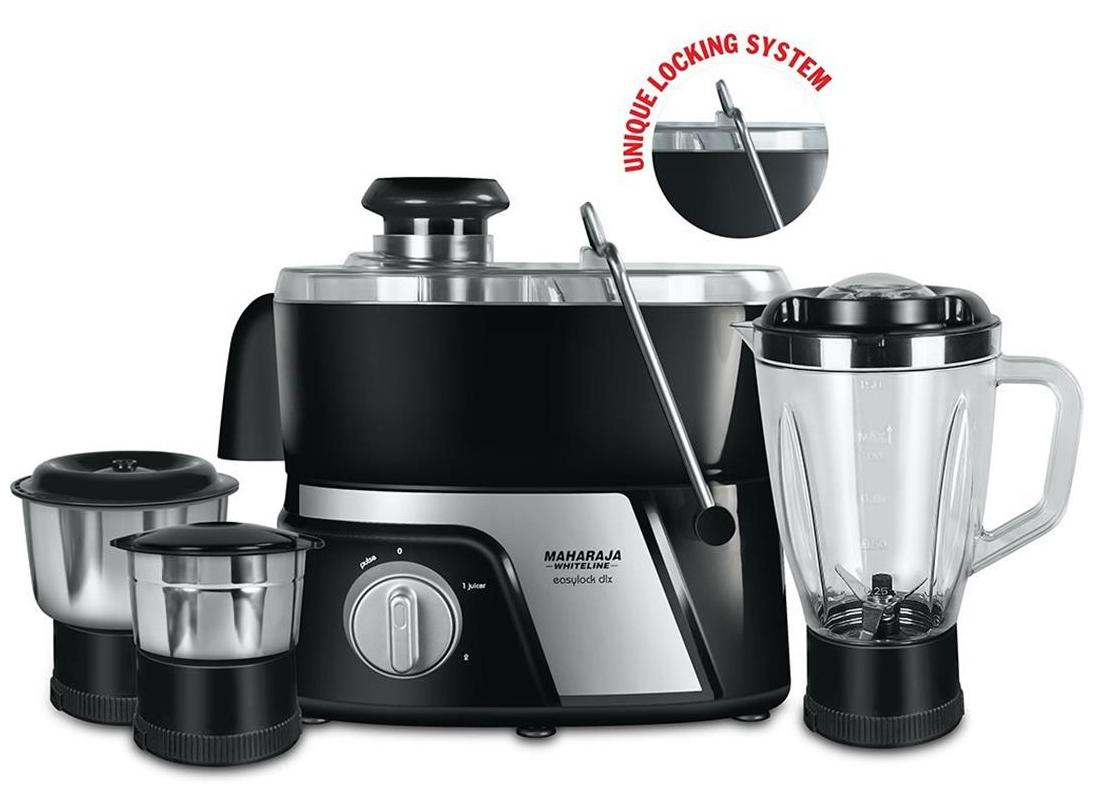 Maharaja White Line JMG Easy Lock Deluxe 550-Watt Juicer Mixer Grinder (Premium Black and Silver)