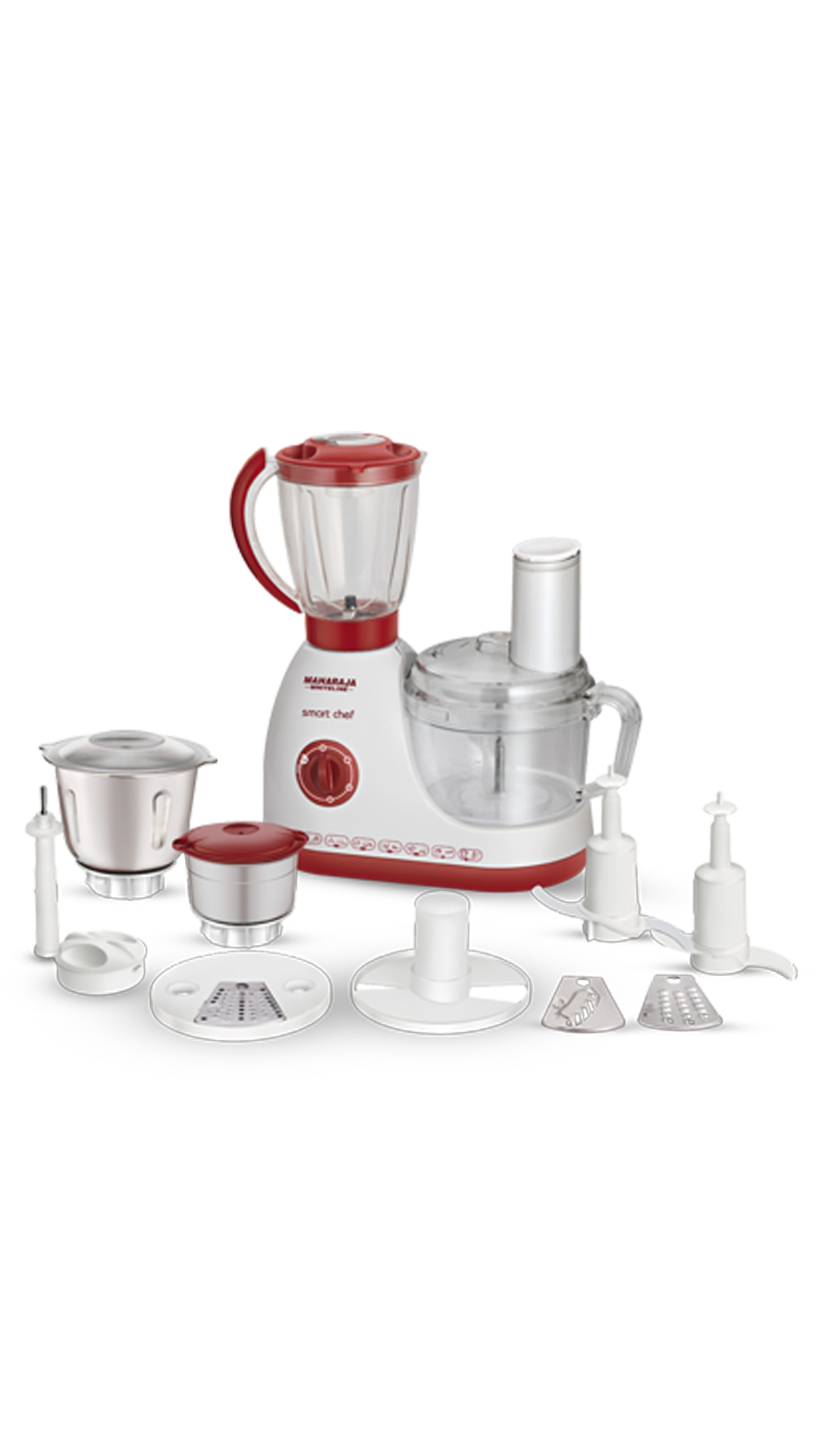 Maharaja Whiteline Smart Chef FP-100 600 W Food Processor (White & Red)