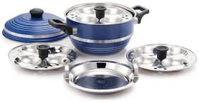 Mahavir Blue And Silver Kadhai/Idli Maker With Steamer Plate