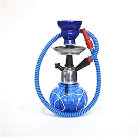 MAHISON LIFESTYLE Glass Blue Hookah Set of 1