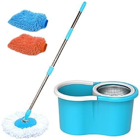 Maison & Cuisine STEEL SPIN MOP with 2 microfibers & Get a pair of Microfiber Gloves absolutely Free