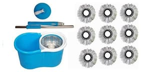 Maison & Cuisine 360 deg Rotating Steel Spinner Easy Floor Cleaning Pvc Bucket With 9 Heads Microfiber Assorted Color PVC Bucket Mop Set