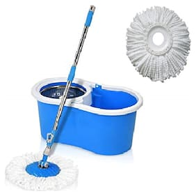 Maison & Cuisine STEEL SPIN MOP with 2 Microfibres