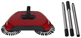 Maison & Cuisine 360 Rotary Home Use Magic Manual Telescopic Floor Dust Sweeper Automatic Brooms (Red)