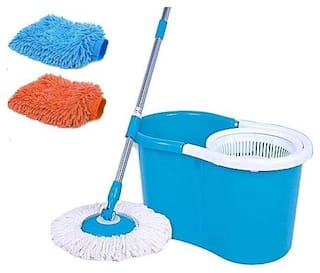 Maison & Cuisine Floor Cleaning PVC Spin Mop with 2 Microfibers & Get a pair of Microfiber Gloves absolutely Free