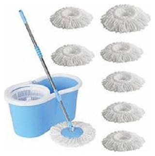Maison & Cuisine 360 Degree Rotating Plastic Spinner Easy Floor Cleaning Pvc Bucket With 7 Heads Microfiber Assorted Color PVC Bucket Mop Set