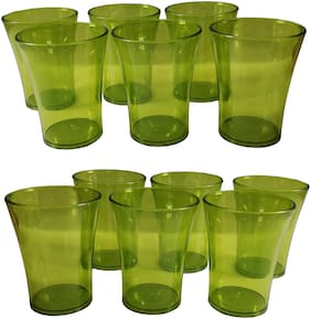 Maitri Green Color Unbreakable Plastic Glass Set of 12 Pcs Polycarbonate Drinking Glass / Soft Drink / Juice Glasses - Green Color (250 ML)