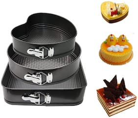 Maitri Stainless Steel Cake Non-Stick Baking Pan, Mould Set for Cake Pie Making, Heart Shape Cake Mould Round Shape Cake Mould and Square Shape Cake Mould - Black (3-Pieces),