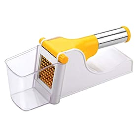 Maitri Virgin Plastic French Fry Chipser with SS Handle, Potato Chipser/Potato Slicer with Container (Multi Color)