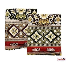 Mandhania Pooja Solapuri Chaddars 100% Cotton Dailyuse Double Bed Blanket Pack of 2 - Multicolor