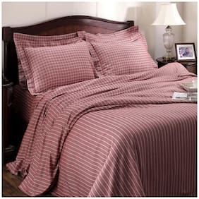Maspar Cotton Striped King Size Bedsheet 300 TC ( 1 Bedsheet With 2 Pillow Covers , Red )